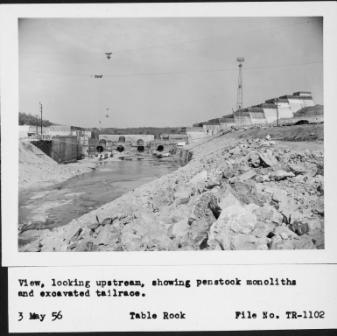 View of Table Rock Dam under construction 1956