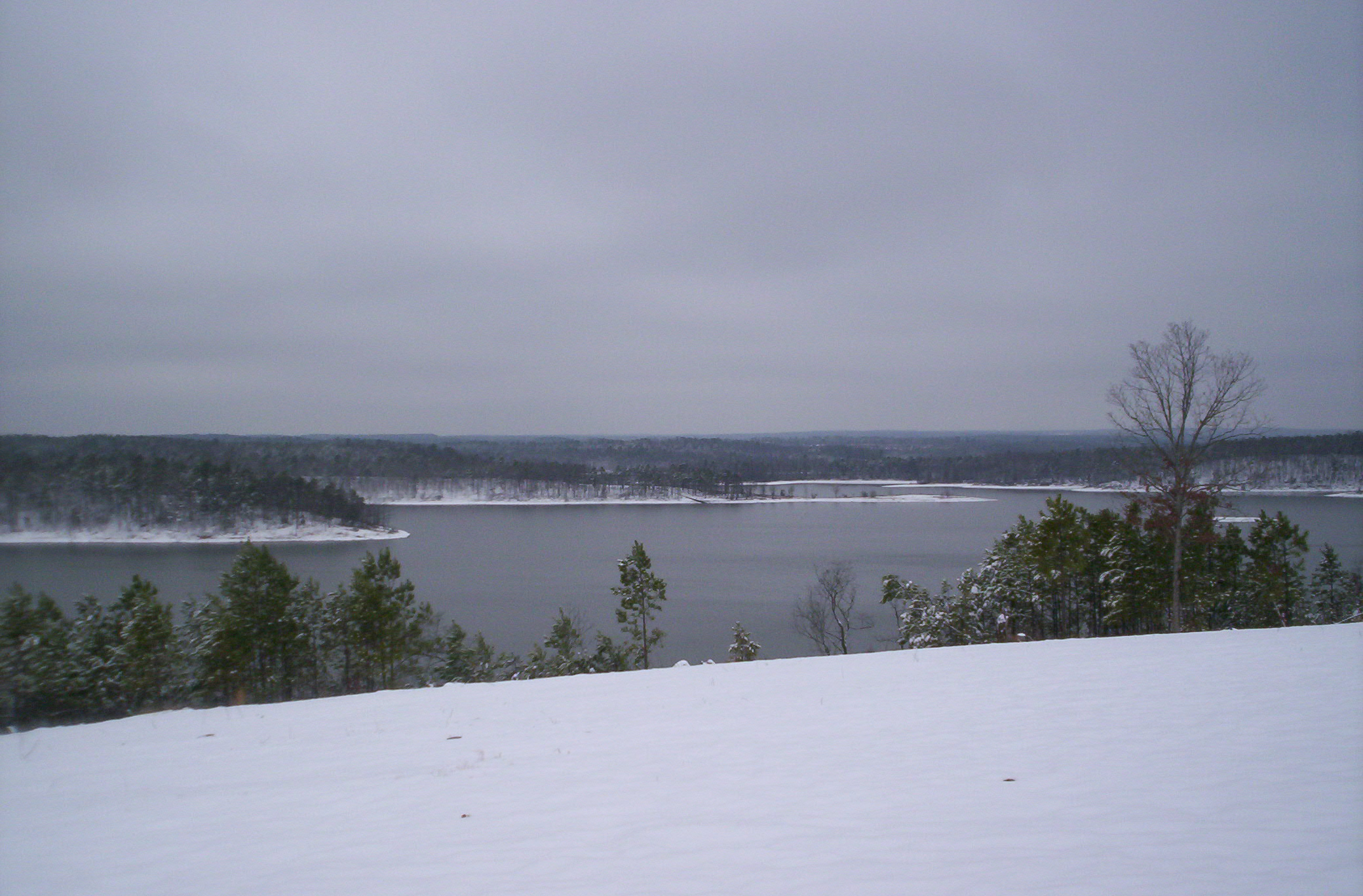 Beautiful snow on land around the lake