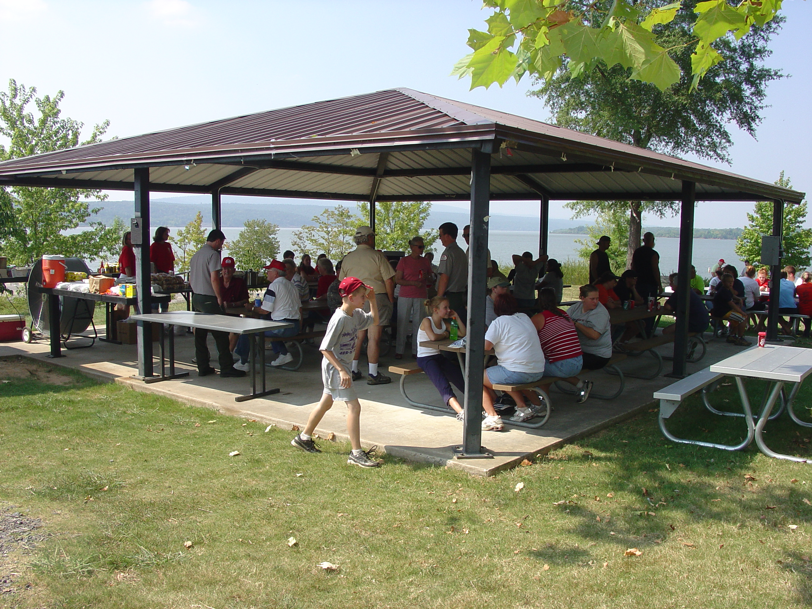 Group using picnic shelter at Carden Point.