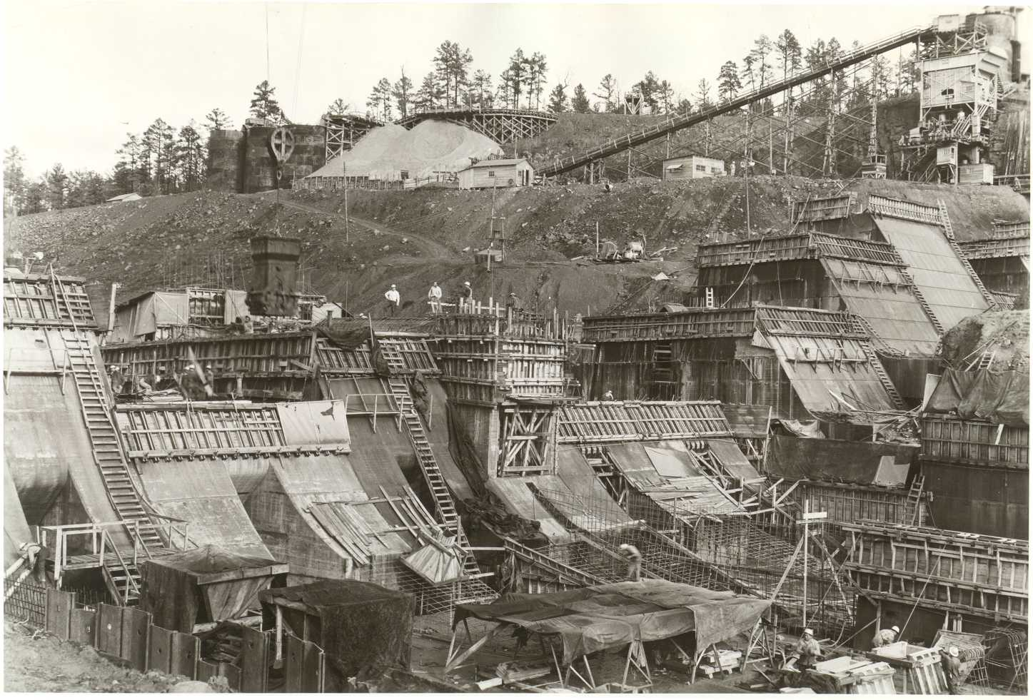 Early stages of the Nimrod Dam construction.